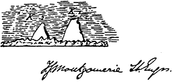 Montgomerie's sketch of K1 and K2.